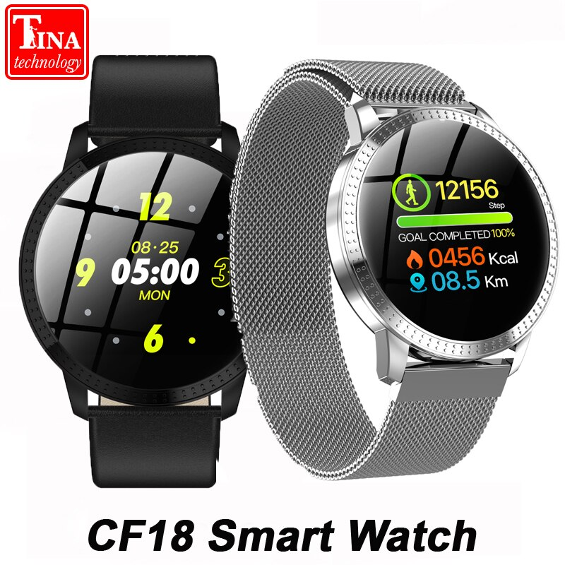 [해외]IP67 Waterproof CF18 Smart Watch Blood Pressure Heart Rate Monitor Metal Starp Multi Sport Modes 1.22 Inch Smartwatch Bracelet/IP67 Waterproof CF1