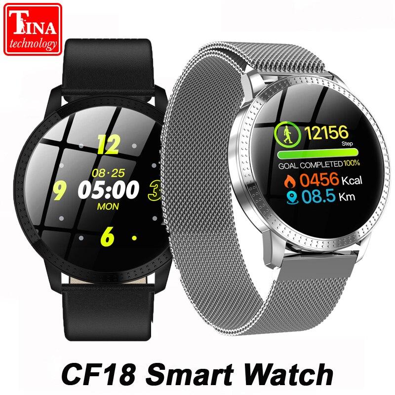 [해외]IP67 Waterproof CF18 Smart Watch Blood Pressure Heart Rate Monitor Metal Starp Multi Sport Modes 1.22 Inch Smartwatch Bracelet/IP67 Waterproof CF1