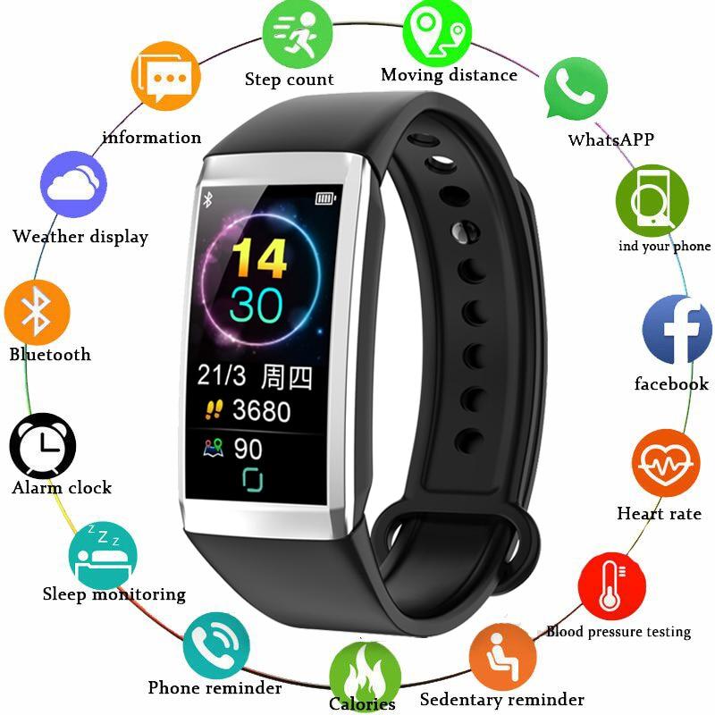 [해외]GEJIAN Smart Bracelet Fitness Tracker Heart Rate Monitor Smart Watch Blood Pressure Sport Pedometer Smart Band for 안드로이드 IOS/GEJIAN Smart Bracelet