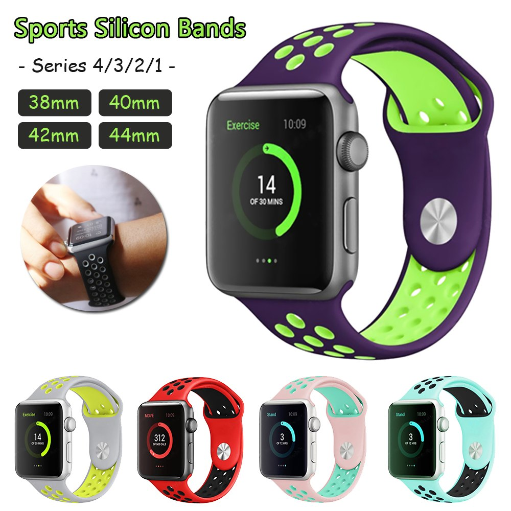 [해외]/Sport Silicone Watch Band Breathable Hole Replacement Strap for Apple iWatch Series 1 2 3 4 Strap 40/44MM 38/42MM Bracelet