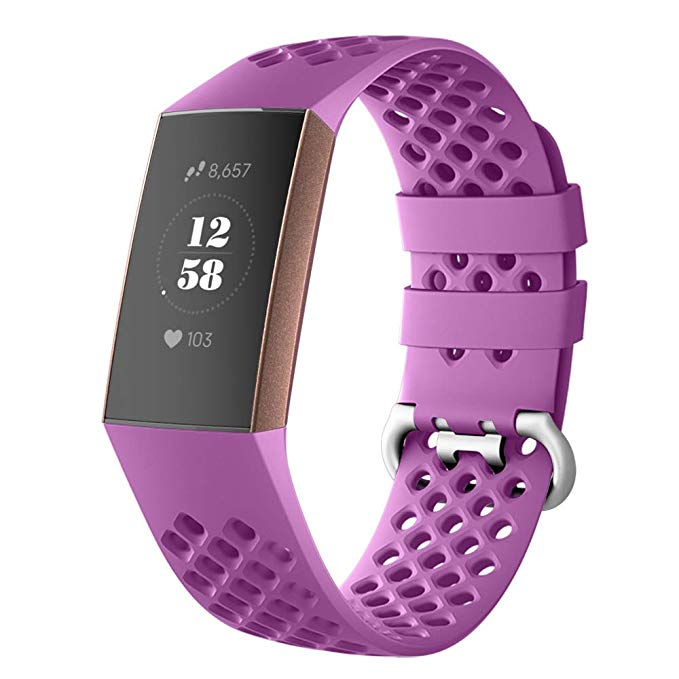[해외]Fitbit 충전 3/충전 3 se 트래커에 대 한 통기성 실리콘 스포츠 밴드 클래식 작은 대형 팔찌 팔찌 여성 남성을위한