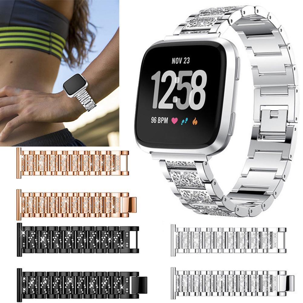 [해외]Inteligente nueva banda de reloj de correa para la muneca pulsera de diamantes de imitacion para Fitbit viceversa reloj banda de reloj de correa/I