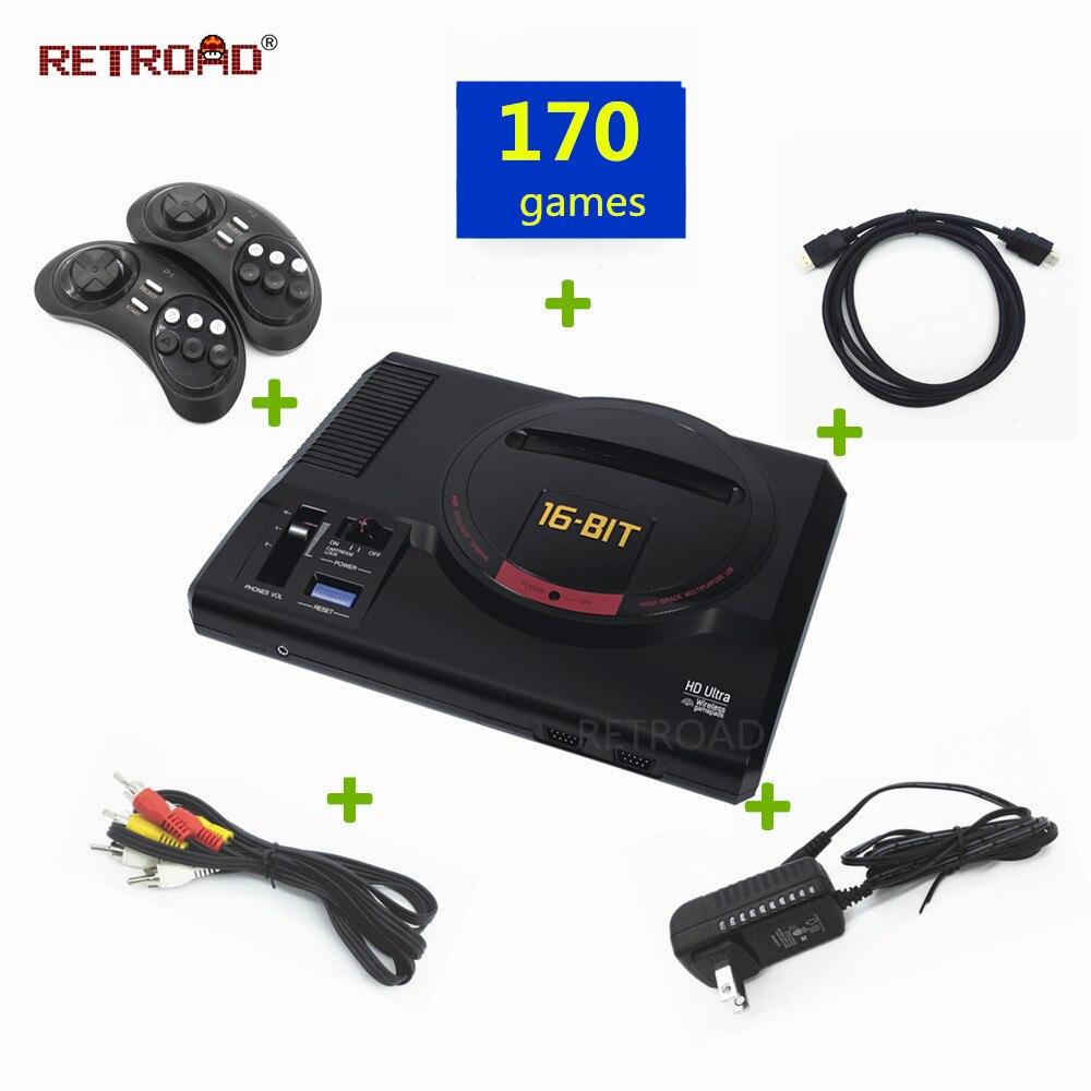 [해외]/Newest RETROAD HD 720DPI 16bit SEGA Genesis/MEGADRIVE1 TV game console 112IN1 classic games include2.4G wireless joypad