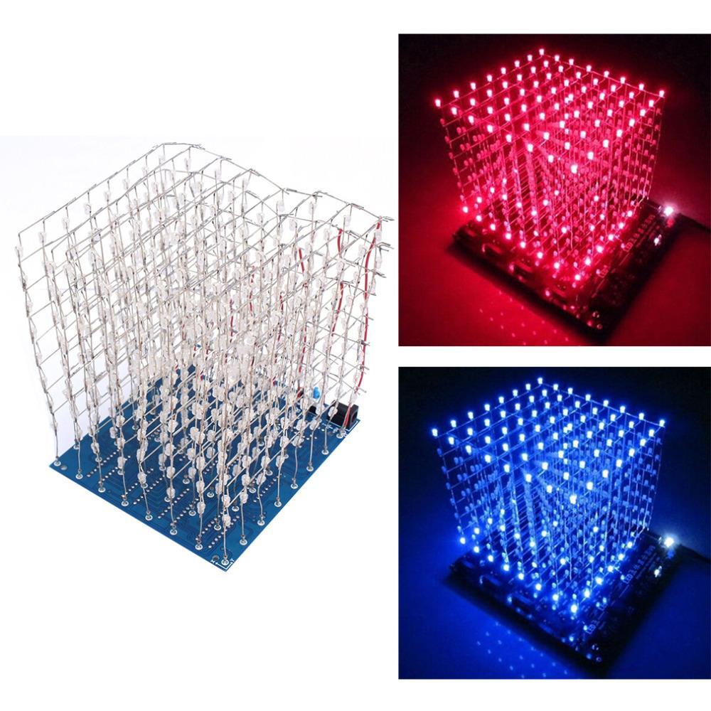 [해외]3d led 빛 제곱 된 diy 키트 8x8x8 3mm led 큐브 화이트 led 블루/레드 레이 빛 pcb 보드 테이블 램프 무료 배송/3d led 빛 제곱 된 diy 키트 8x8x8 3mm led 큐브 화이트 led 블루/레드 레이 빛 pc