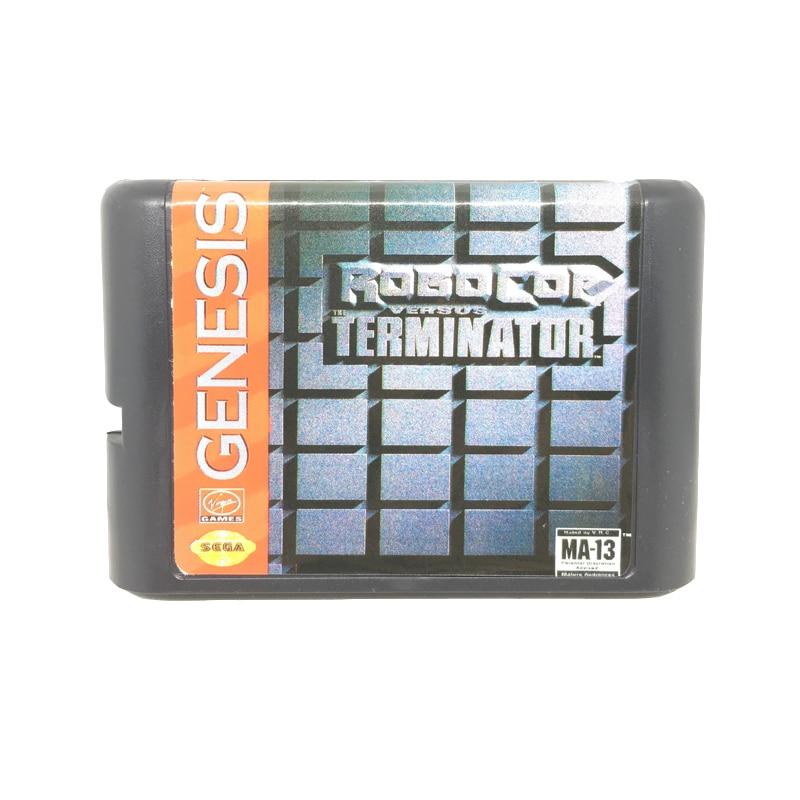 [해외]Robocop versus 터미네이터 sega mega drive/genesis 시스템 용 16 비트 게임 카드 게임 카트리지 eur/usa shell/Robocop versus 터미네이터 sega mega drive/genesis 시스템 용