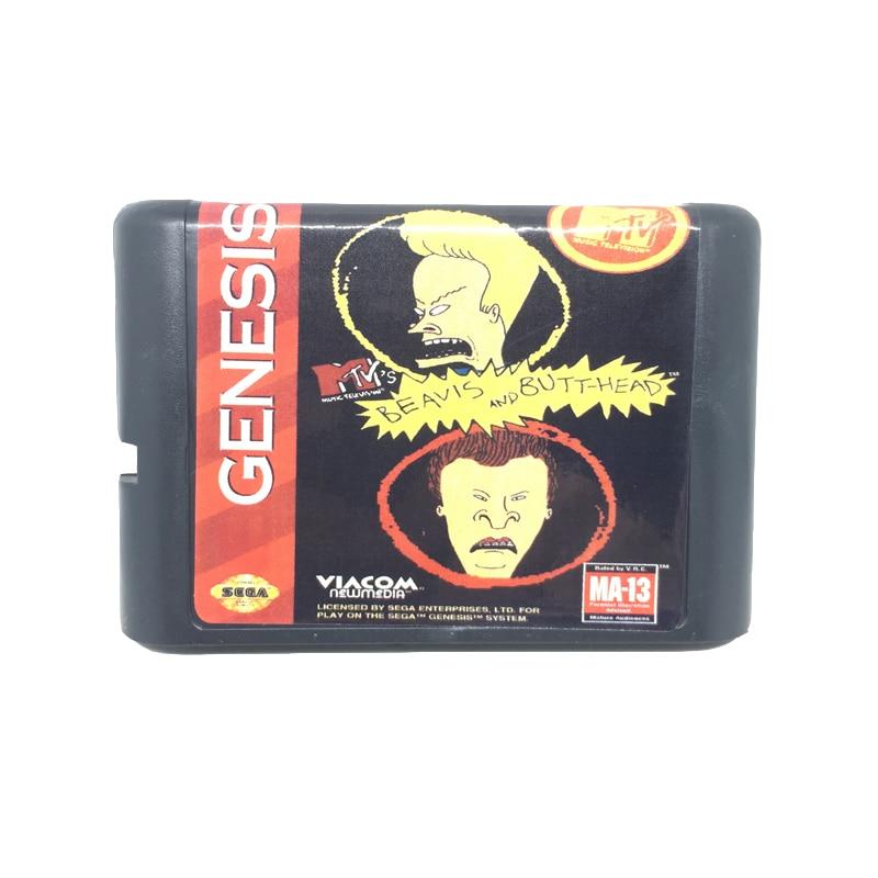 [해외]16 비트 게임 카드 게임 카트리지 용 beavis 및 butt-head sega mega drive/genesis 시스템 용 eur/usa shell/16 비트 게임 카드 게임 카트리지 용 beavis 및 butt-head sega mega