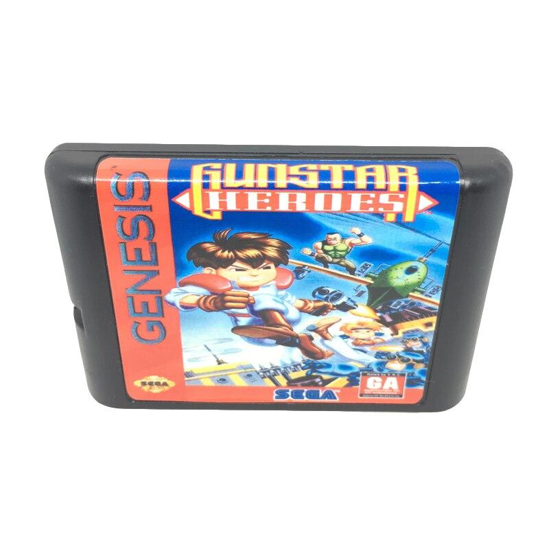 [해외]Gunstar heroes sega mega drive/genesis 시스템 용 16 비트 게임 카드 게임 카트리지 eur/usa shell/Gunstar heroes sega mega drive/genesis 시스템 용 16 비트 게임 카드