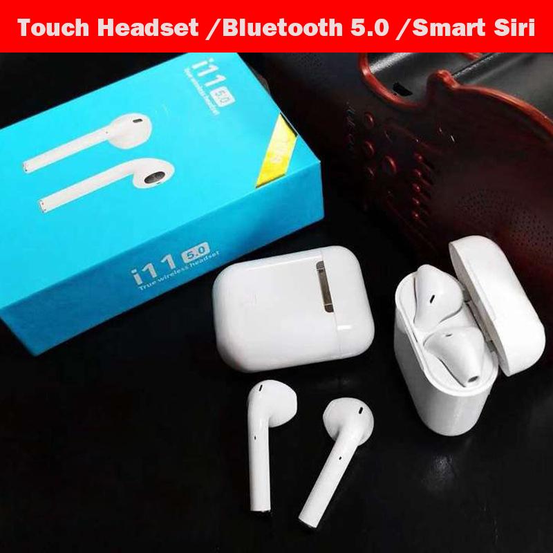 [해외]Original 1:1 earbuds i11 TWS Wireless Touch headset Bluetooth 5.0 stereo earphones for apple iPhone 8 i10 not Airpods auricular/Original 1:1 earbu