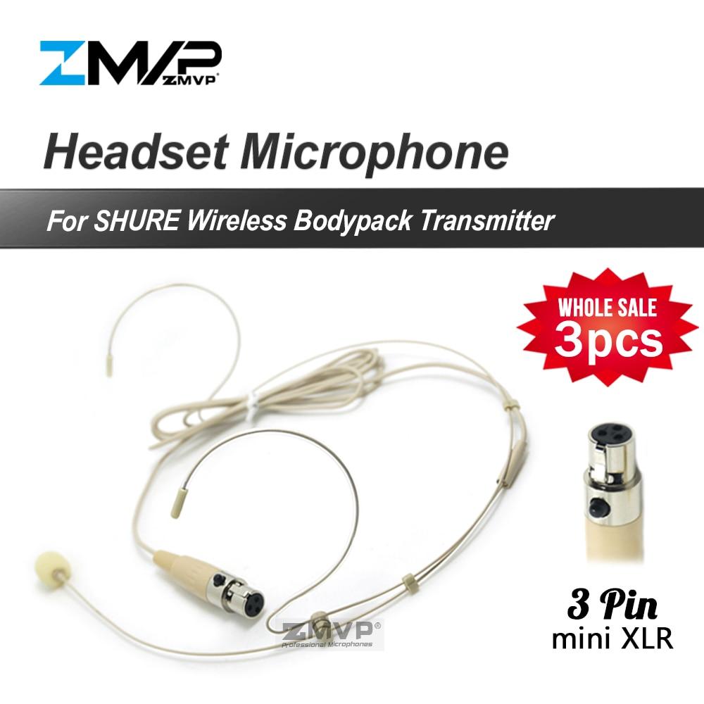 Shure 무선 Bodypack 송신기에 대 한 3 개/몫 전문 3pin XLR TA3F 헤드셋 Headworn 카디오이드 3 핀 콘덴서 마이크