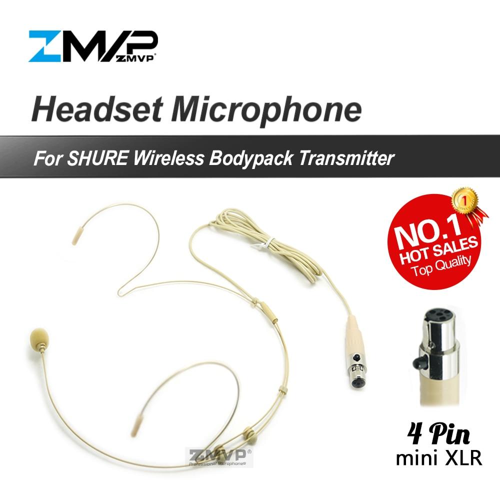 전문 4 핀 XLR TA4F 헤드셋 헤드셋 카디오이드 콘덴서 마이크 Shure 무선 바디 팩 송신기 입력 잭