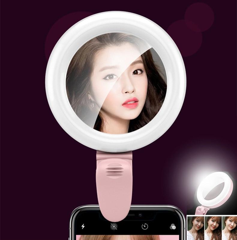 [해외]여자의 메이크업 거울 selfie 링 램프 스마트 모바일 플래시 라이트 최대 충전 휴대용 휴대 전화 라이브 비디오 미니 led 홀더/여자의 메이크업 거울 selfie 링 램프 스마트 모바일 플래시 라이트 최대 충전 휴대용 휴대 전화 라이브 비디