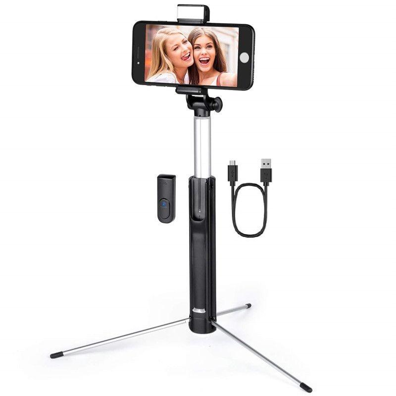 [해외]무선 selfie 스틱 삼각대 3 레벨 led 라이트 블루투스 컨트롤 확장 가능한 selfie 스틱 아이폰 xr xs max 8 plus 스마트 폰/무선 selfie 스틱 삼각대 3 레벨 led 라이트 블루투스 컨트롤 확장 가능한 selfie