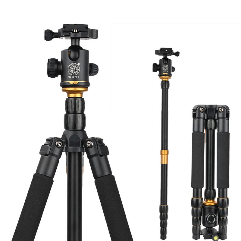 QZSD Q666 카메라 삼각대 전문 사진 휴대용 알루미늄 삼각대 볼 헤드 용 카메라 스탠드 접이식 35cm