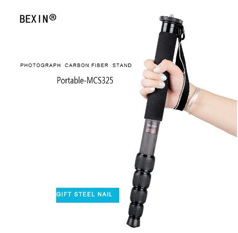 범용 유연한 경량 탄소 섬유 5 섹션 monopod unipod 1650mm 높이 dslr 카메라