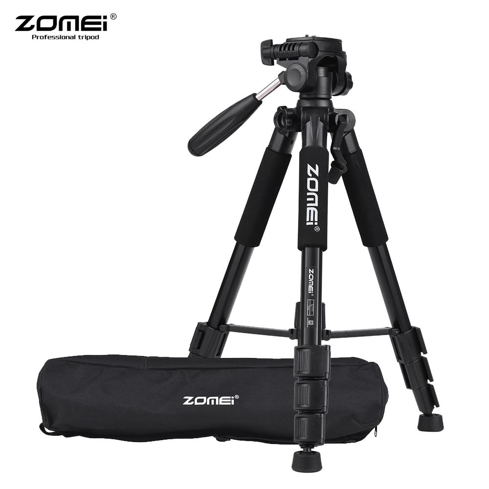 Zomei q111 slr dslr 디지털 카메라 용 전문 휴대용 여행 알루미늄 카메라 삼각대 및 팬 헤드
