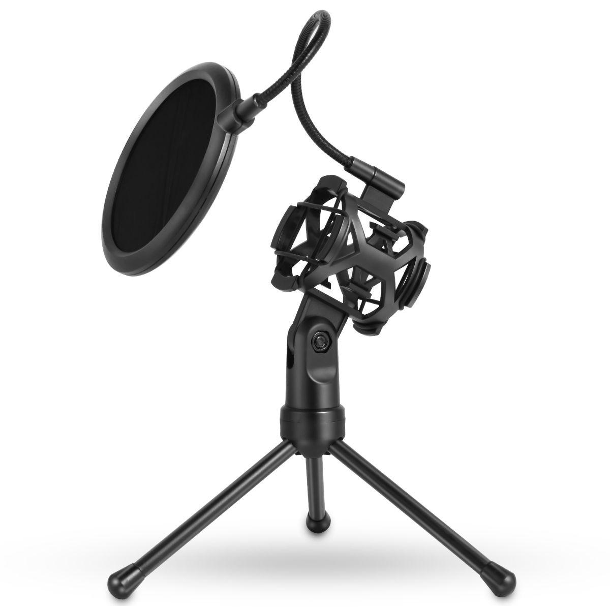 [해외]Portable Microphone Stand Desktop Tripod Recording Microphone StandMicrophone Clip Windscreen Filter/Portable Microphone Stand Desktop Tripod Reco