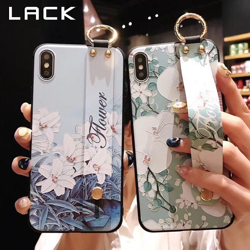 [해외]LACK Flowers Phone Case For iphone XS Max X XR 8 7 6 6S Plus Cover Wrist Strap Hand Band Cases Soft TPU Relief Coque Stand Capa/LACK Flowers Phone