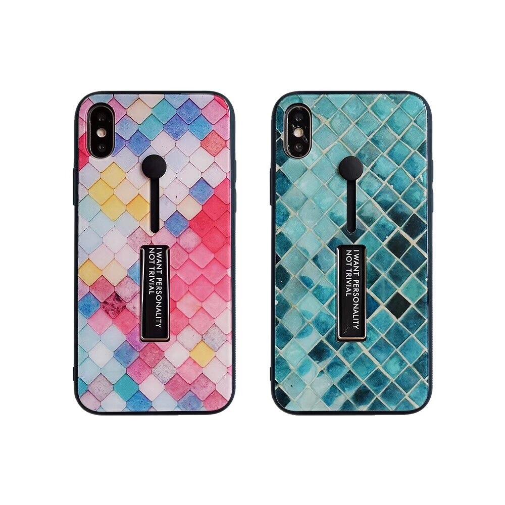[해외]For iphone XS Max X XR Retro Fish scale pattern glass lattice case for iphone 6 6s 7 8 plus ring support back cover/For iphone XS Max X XR Retro F