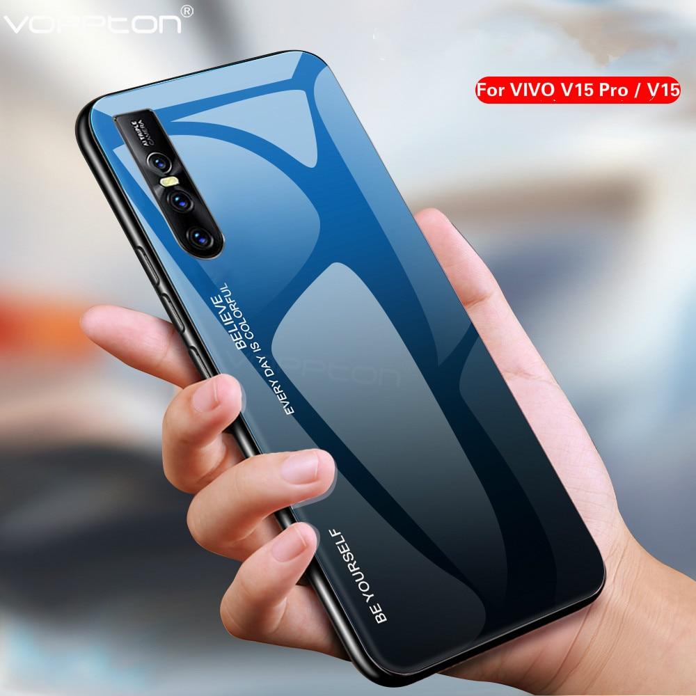 [해외]For VIVO V15 Pro Phone Case Gradient Tempered Glass Hard Case Soft TPU Silicone Frame Hard Glass Back Cover for VIVO V15/For VIVO V15 Pro Phone Ca