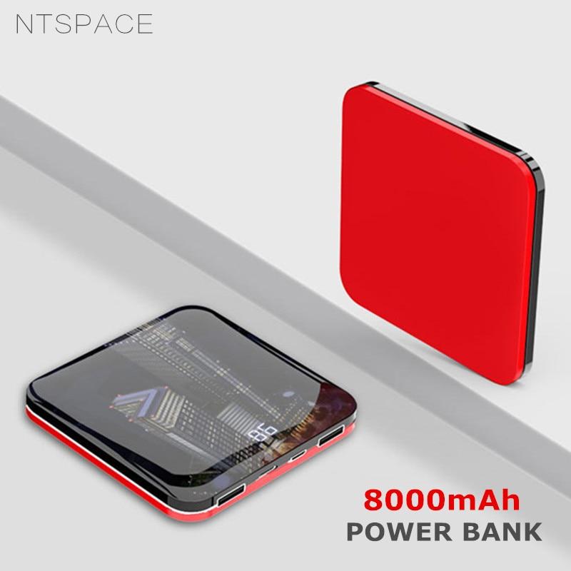 [해외]8000mAh Mini Power Bank 2.0A Quick Charge Powerbank Dual-USB Portable Mirror Aluminium Fast Charging Mini Power External Battery/8000mAh Mini Powe
