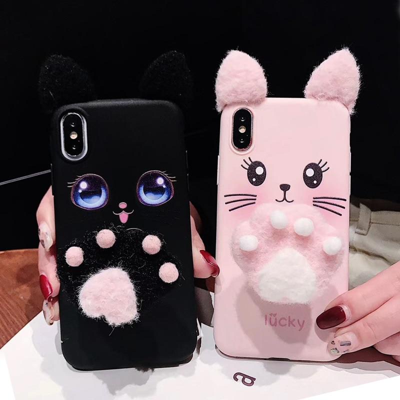 [해외]패션 봉 제 귀 고양이 발톱 브래킷 귀여운 수염 고양이 전화 케이스 애플 아이폰 6 6 s 7 8 플러스 x xs xr xs 최대 다시 커버 coque/패션 봉 제 귀 고양이 발톱 브래킷 귀여운 수염 고양이 전화 케이스 애플 아이폰 6 6 s