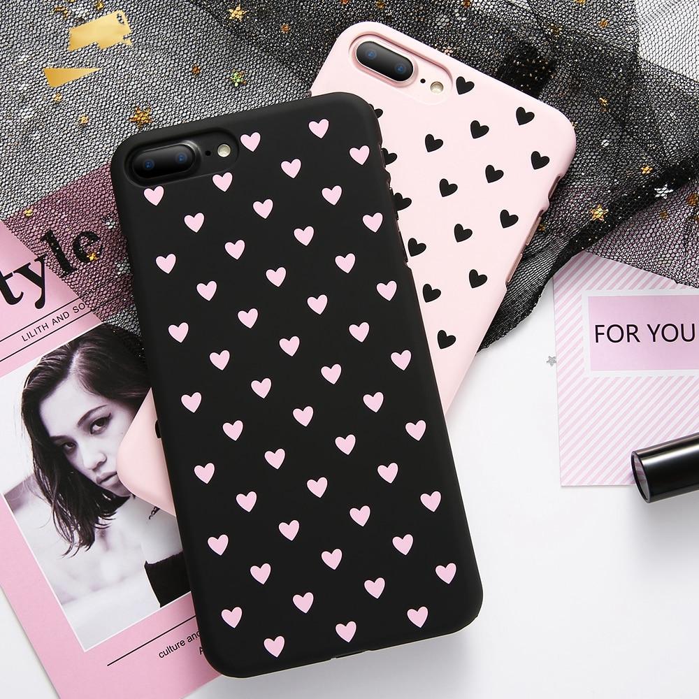 [해외]Love Heart Back Case For iPhone 6S 6 7 8 Plus For iPhone X XR XS MAX Cute Love Heart Pink Ultra thin Soft TPU Lover Cases Cover/Love Heart Back Ca