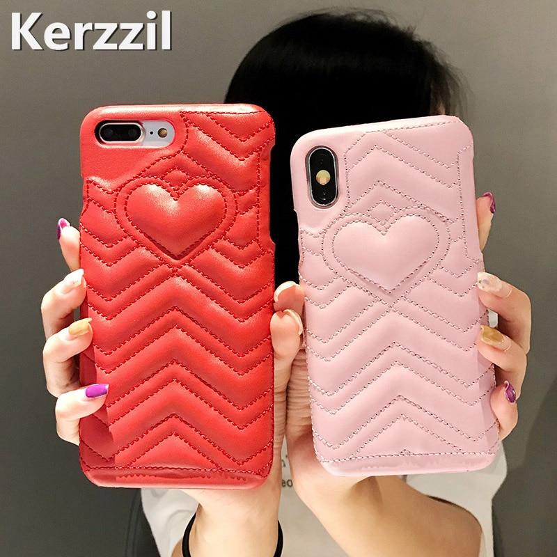[해외]Kerzzil Cute Heart Hard Case for iPhone 6 7 8 X Abstract Geometrical Lines PU Leather Case for iPhone 6 6s 7 8 Plus Cover Capa/Kerzzil Cute Heart