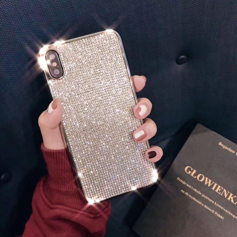 [해외]Fashion Silver Luxury Plating  Diamond Case For iPhone XS Max Case For iPhone XS XR X 8 7 6S 6 Plus Soft TPU Back Cover/Fashion Silver Luxury Plat