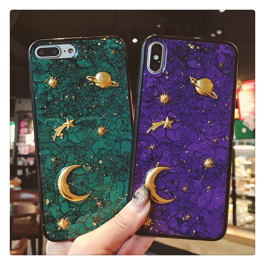 [해외]Gold Foil Marble Glitter Starry sky 3D Saturn stars Phone Cases For iPhone XS 6 7 8 Plus Luxury Back Cover For iPhone XR XS Max /Gold Foil Marble