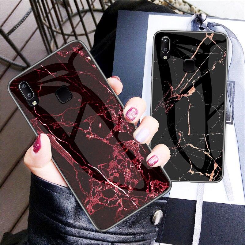 [해외]For Vivo Y95 Luxury Tempered Glass Marble Grain Silicone Frame Fashion Protective Back Cover 6.2 inch/For Vivo Y95 Luxury Tempered Glass Marble Gr