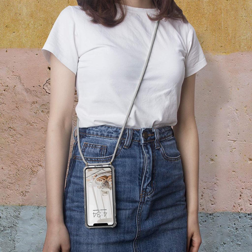 Beautyss 전화 케이스 커버 아이폰 7 8 플러스 x 최대 xr 스트랩 투명 tpu 끈 목걸이 어깨 밧줄 코드 새로운