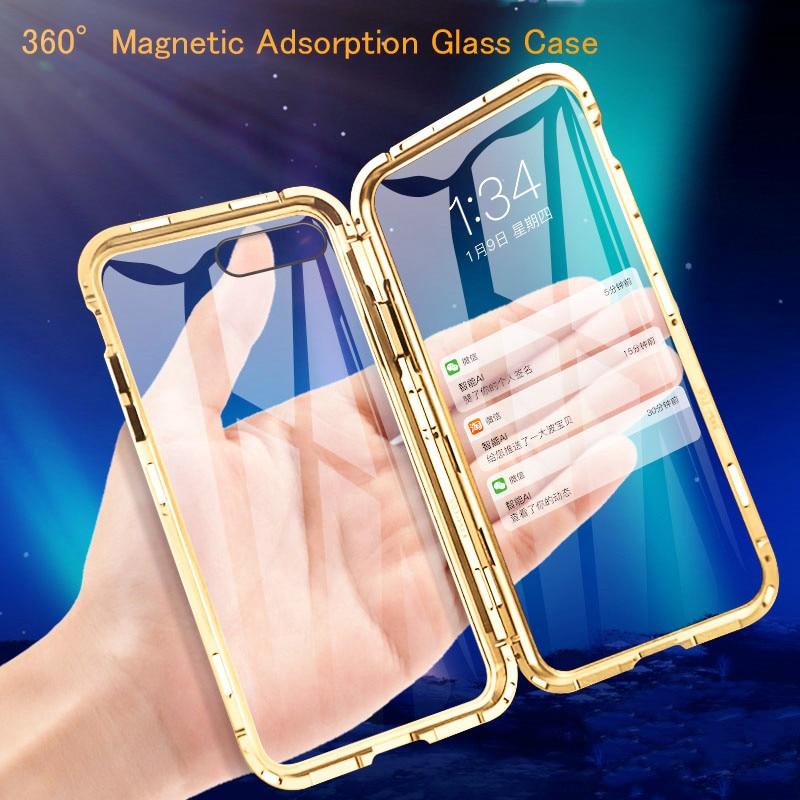 전면 + 후면 360 자기 흡착 금속 유리 케이스 아이폰 7 8 6 플러스 전화 케이스 아이폰 11 프로 최대 XR X XS 최대 커버