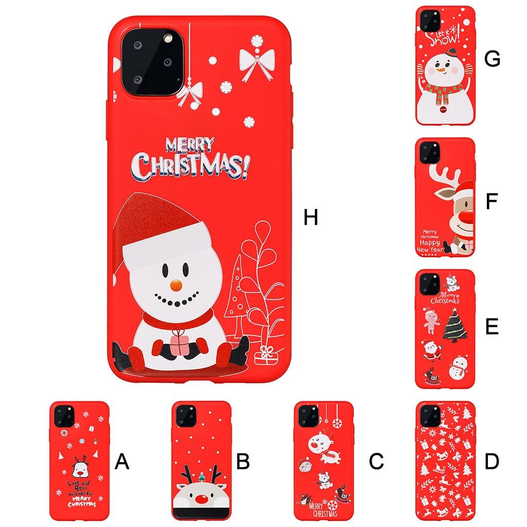 아이폰 11 6.1 인치 전화 커버 2019 휴대용 크리스마스 휴일 Sillione 스노우 케이스 커버 친구를위한 크리스마스 선물