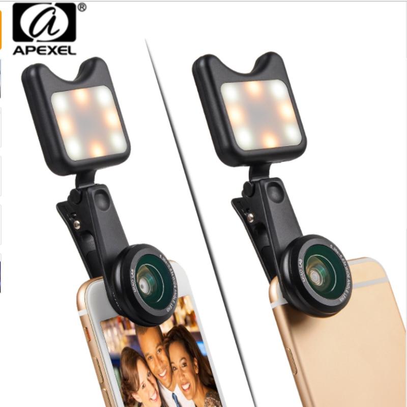 [해외]APEXEL 3 1 전화 카메라 렌즈 와이드 매크로 렌즈 + Led 필 라이트 아이 렌즈에 대한 렌즈 Selfie 렌즈 렌트? ? ???? ?? 스마트 폰/APEXEL 3 in 1 phone camera lens wide macro lens + Led Fill