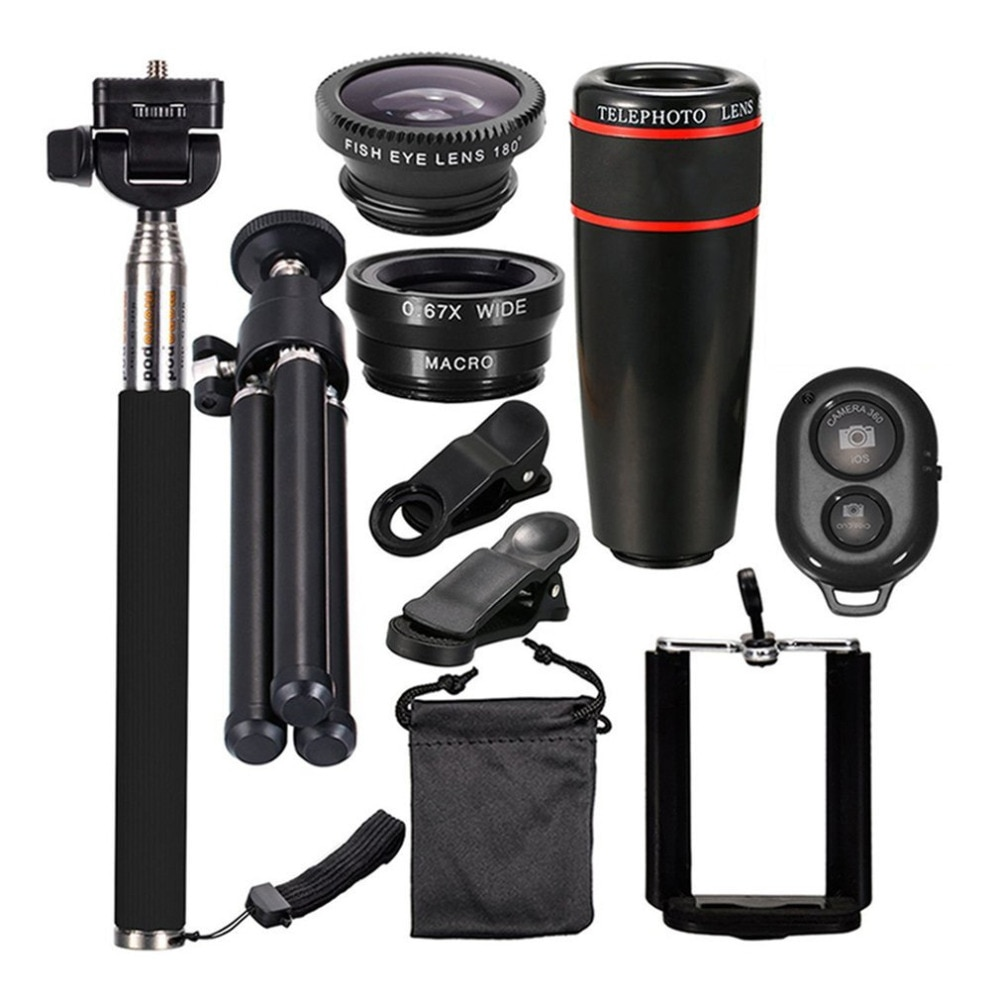 [해외]12X Zoom Camera Telephoto Lens Wide Angle Phone Telescope Clip Lens Kit Bluetooth RemoteSelfie Stick For Smart Phone/12X Zoom Camera Telephoto Len