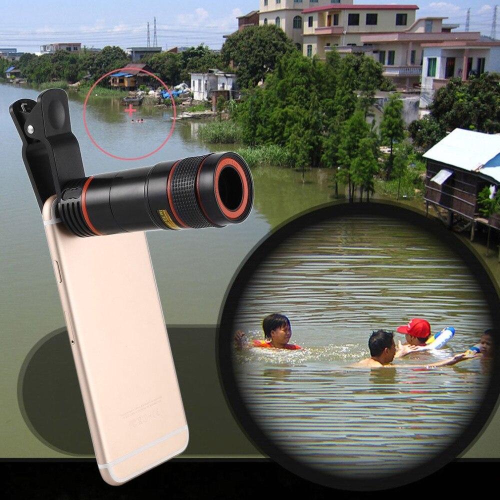 [해외]Universal 12X Mobile Phone Telescope HD External Telephoto Lens Replacement Tele Lens Optical Zoom Cell Phone Camera Lens Kit/Universal 12X Mobile
