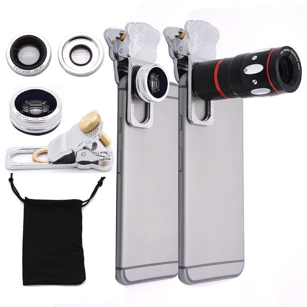 [해외] 4 in 1 Universal 10X Telephone Camera Lens Fisheye Wide Angel Macro Lens Clip New/ 4 in 1 Universal 10X Telephone Camera Lens Fisheye Wide Angel