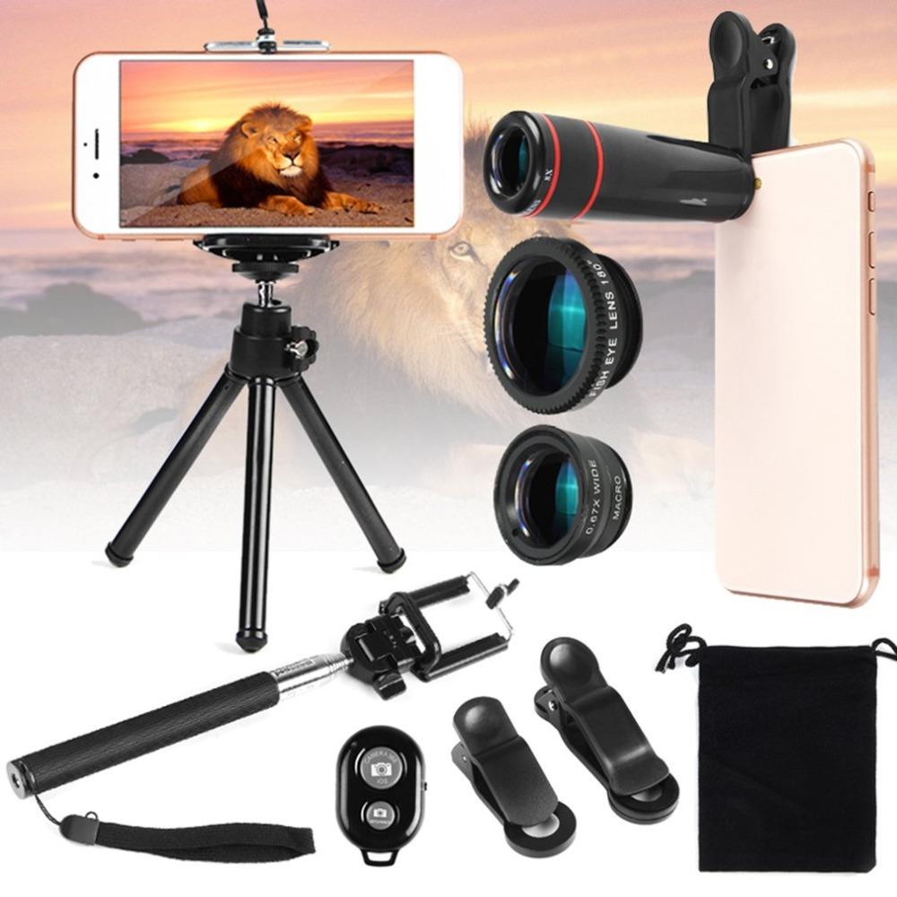 [해외]Universal 12 in 1 Camera Lens Accessories Travel Kit SetHolder Tripod For Mobile Phone Clear Portable Wide-angle Lens/Universal 12 in 1 Camera Len