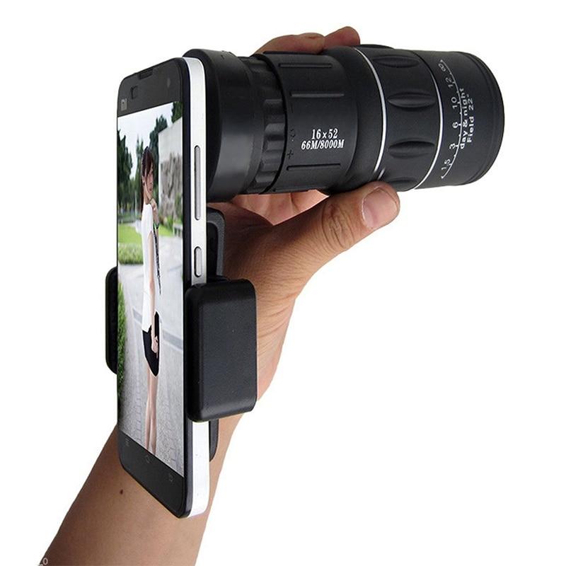 [해외]Universal 16X52 Phone Hiking Monocular Telescope Lens Optical Glass Camping TelescopeClip Holder For iPhone For Samsung/Universal 16X52 Phone Hiki