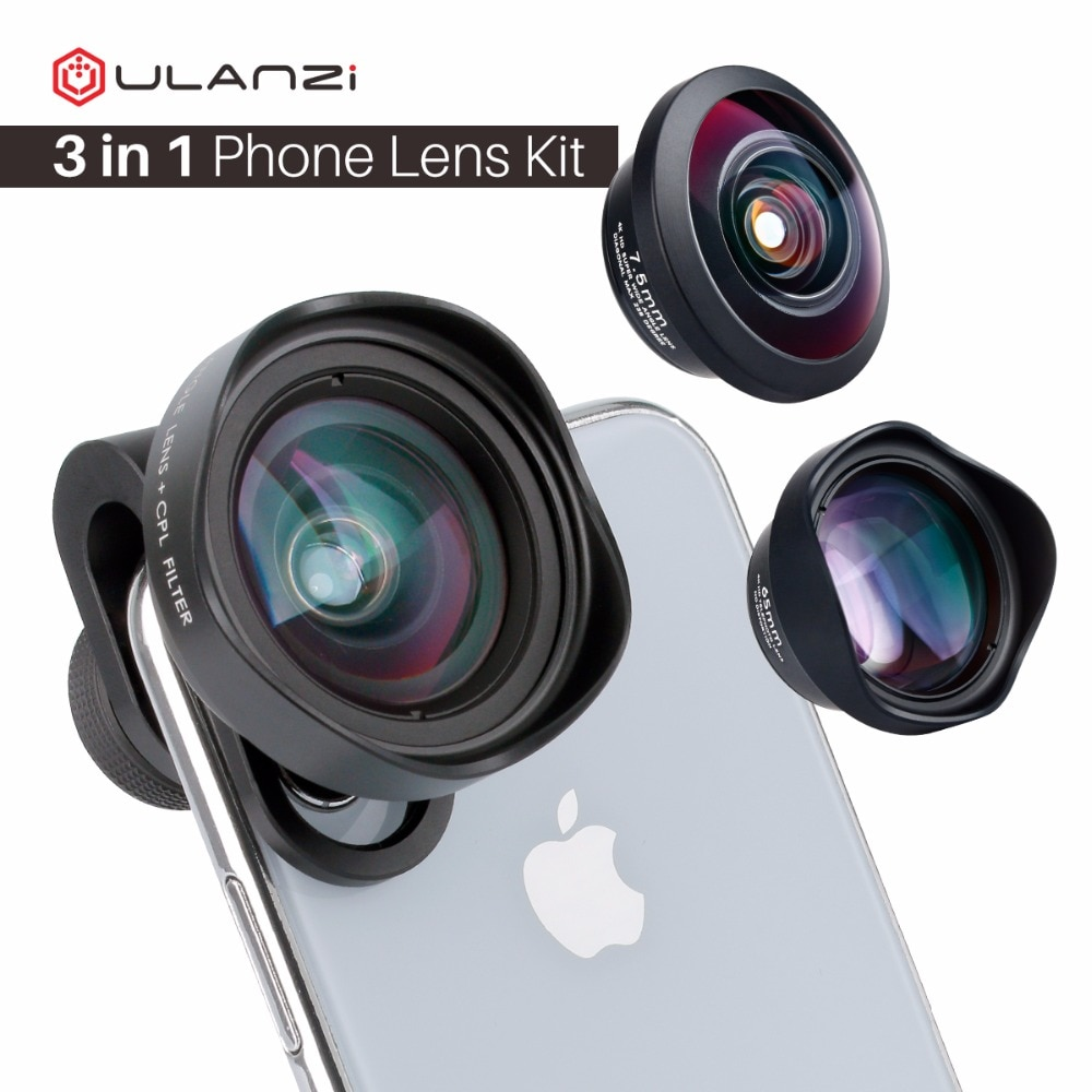 [해외]ULANZI 3in1 16mm Wide Angel / 7.5mm 238 Degree Fishese/ 65mm 2X Telephoto Portrait Phone Camera Lens for iPhone Samsang Mobile/ULANZI 3in1 16mm Wi