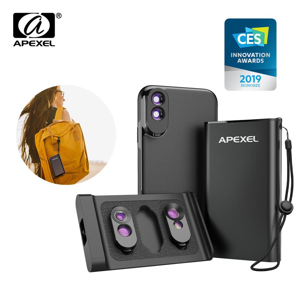 [해외]Apexel 3 in 1 렌즈 케이스 세트 iphone x, xs, xs max 용 pu 가죽 전화 케이스 키트가있는 광각 망원 듀얼 매크로 카메라 렌즈/Apexel 3 in 1 렌즈 케이스 세트 iphone x, xs, xs max 용 pu