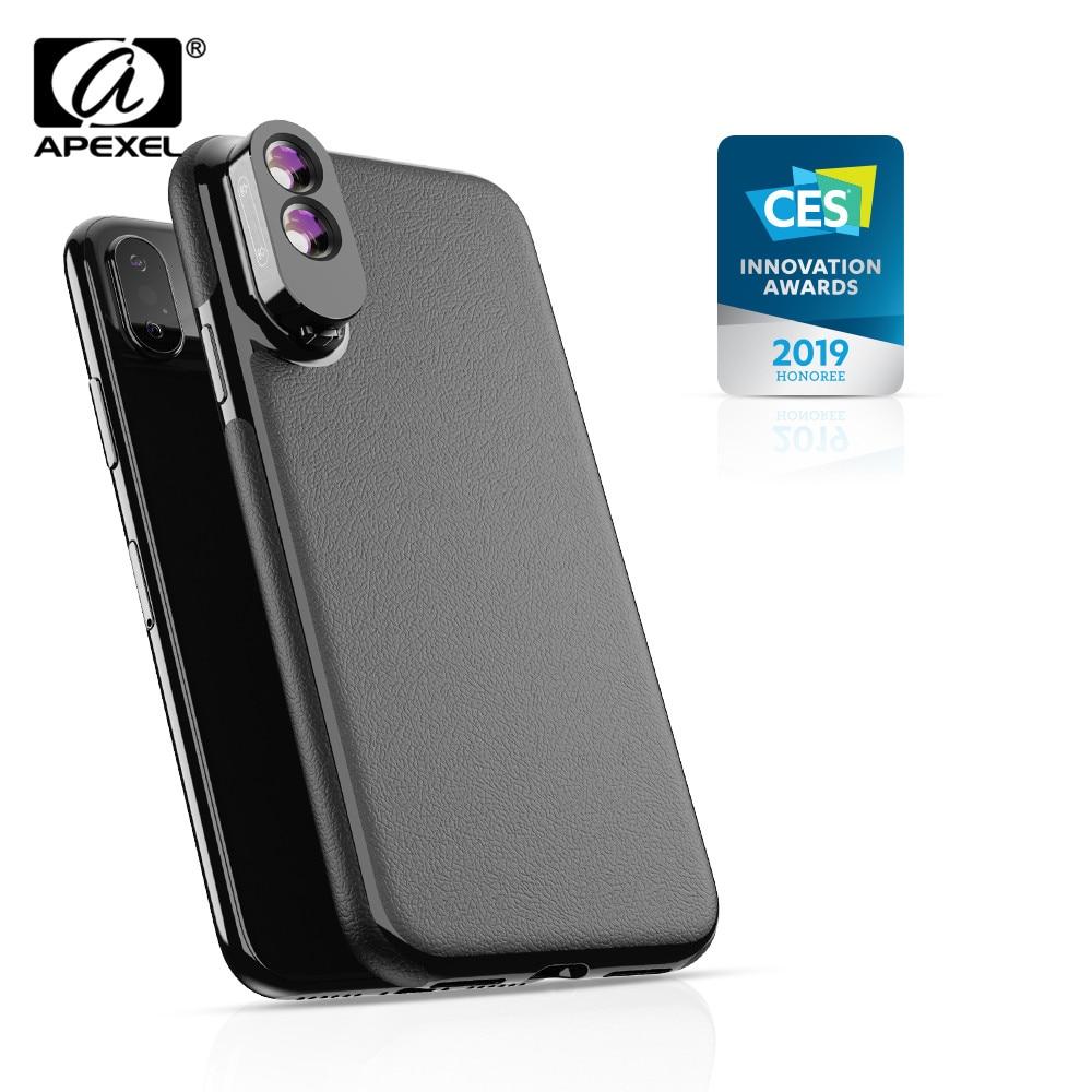 [해외]Apexel 2 in 1 듀얼 매크로 렌즈 케이스 세트 iphone x, xs, xs max 용 pu 가죽 전화 케이스 키트가있는 최고급 카메라 매크로 렌즈/Apexel 2 in 1 듀얼 매크로 렌즈 케이스 세트 iphone x, xs, xs