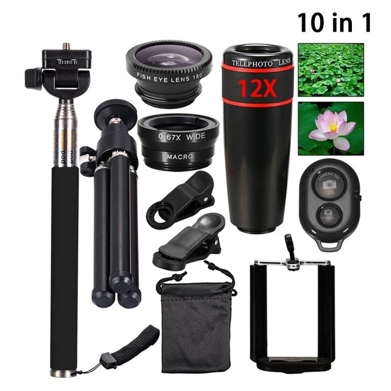 [해외]10 In 1  Phone Camera Accessories Set Contain Lens+Tripod+Selfie Pole+Bluetooth Remote Control+Accessories/10 In 1  Phone Camera Accessories Set C