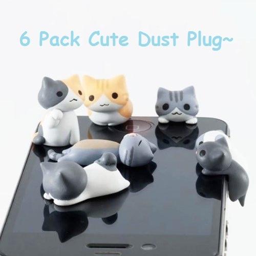 [해외]안티 먼지 플러그 6 pcs 일본 niconico 귀여운 만화 고양이 전화 플러그 잭 이어폰 전화 액세서리 telefon aksesuar stubs/안티 먼지 플러그 6 pcs 일본 niconico 귀여운 만화 고양이 전화 플러그 잭 이어폰 전