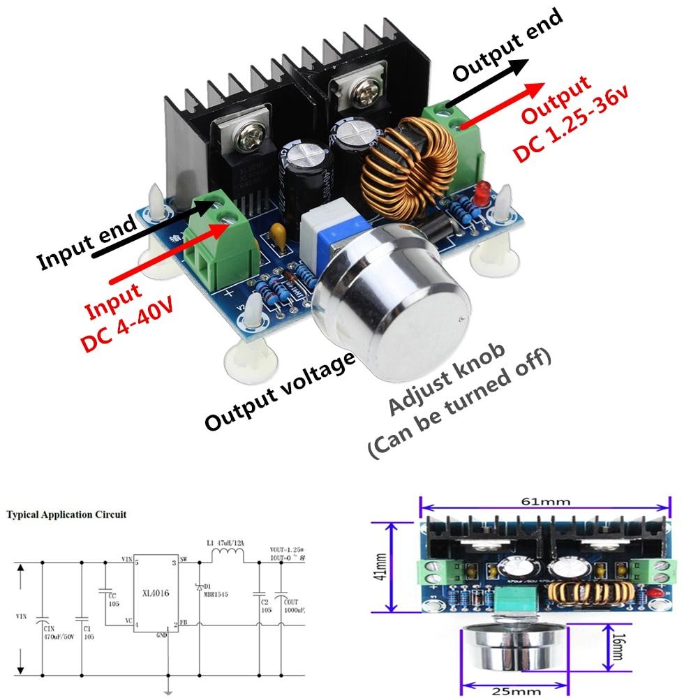 [해외]XH-M401 DC-DC 4-40V to 1.25-36V Step Down Buck Converter Power Supply Module XL4016E1 PWM Adjustable Step Down Board 8A 200W/XH-M401 DC-DC 4-40V t