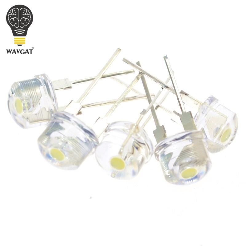 [해외]WAVGAT 50PCS F8 8MM White LED Super Bright Straw Hat Light Emitting Diode Highlighted White 0.5W Astigmatism/WAVGAT 50PCS F8 8MM White LED Super B