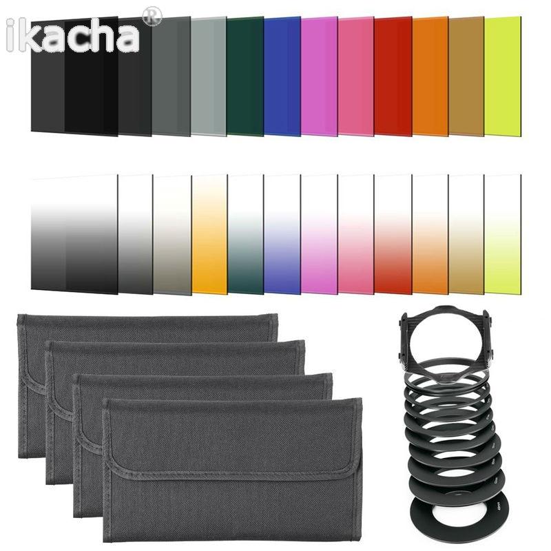 [해외]41 in1 24pcs Color Filter +4 Cases+49 52 55 58 62 67 72 77 82mm ring Adapter+1 holder+Wide-Angle Holder+lens hood for Cokin P/41 in1 24pcs Color F