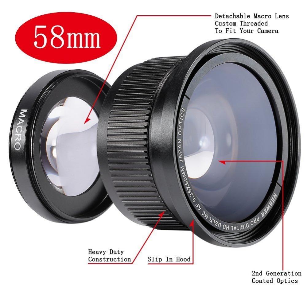 [해외]Neower 58MM 0.35X 슈퍼 어안 렌즈 와이드 앵글 렌즈 커버 캐논 반란군 T5i, T4i, T3, T2i, T1i, XTi, XT, XSi, XS, SL1/Neewer 58MM 0.35X Super Fisheye Wide Angle LensLens C