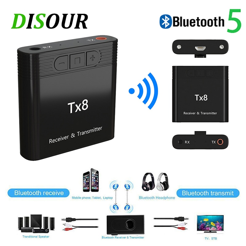 Disour tx8 5.0 볼륨 조절 버튼이있는 bluetooth 수신기 송신기 2 in 1 오디오 무선 어댑터 3.5mm aux for car tv pc/Disour tx8 5.0 볼륨 조절 버튼이있는 bluetooth 수신기 송신기 2 in